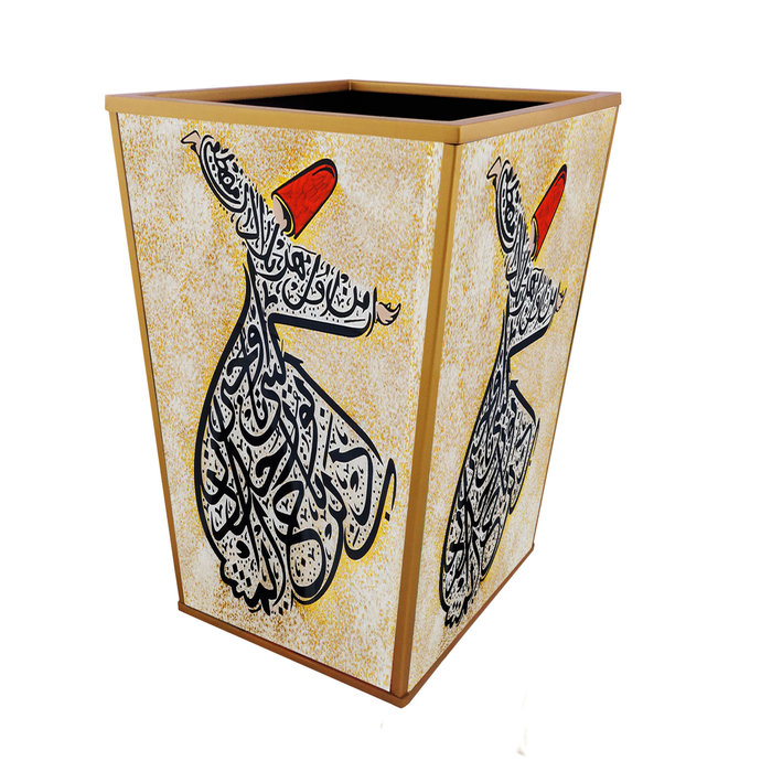 Waste can - Turkish Darvish Dancer with Arab Calligraphy - Reverse Painting on