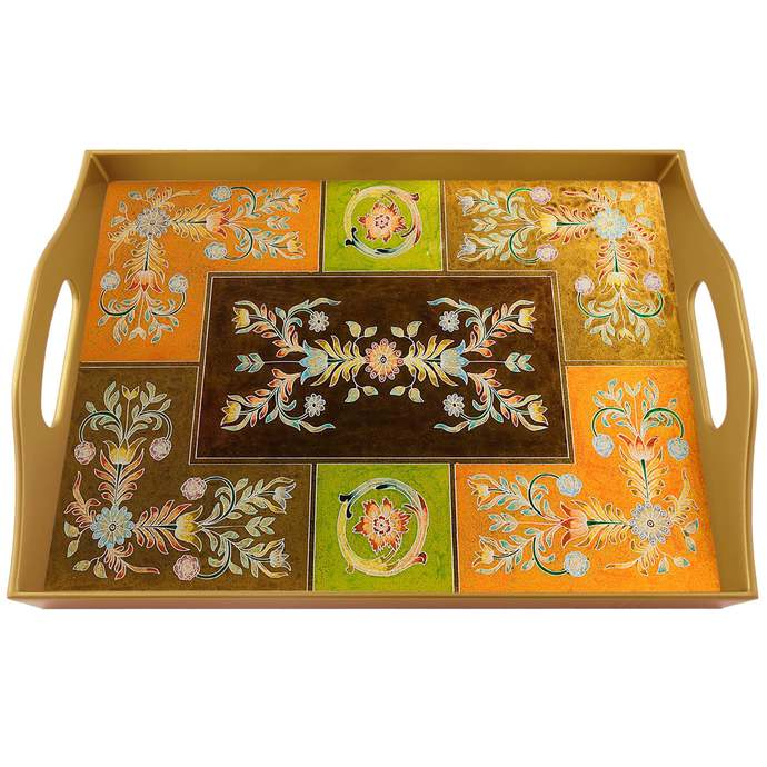 Wedding gift - Ethnic Andean Design Small Flowers - Rectangular Hand Painted