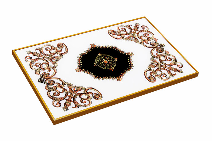 Serving platter - Classic Empire Black and White Design - Hand Painted Tiles for