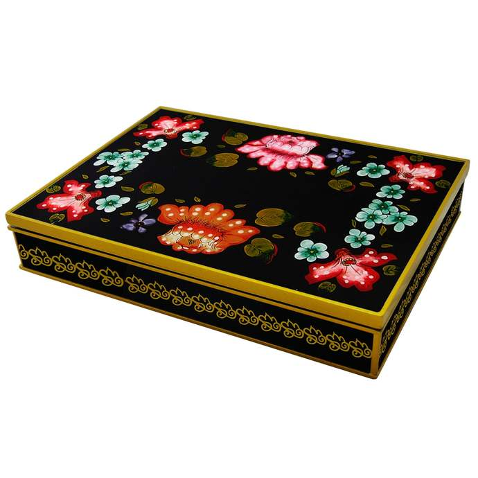 Eglomise Box - Traditional Russian Design with Flowers - Rectangular box with