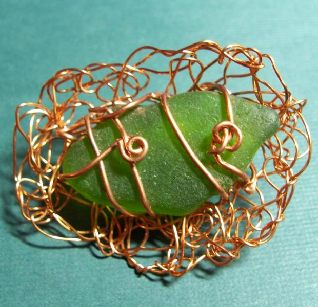Green Sea Glass in a Copper Nest Pin Brooch