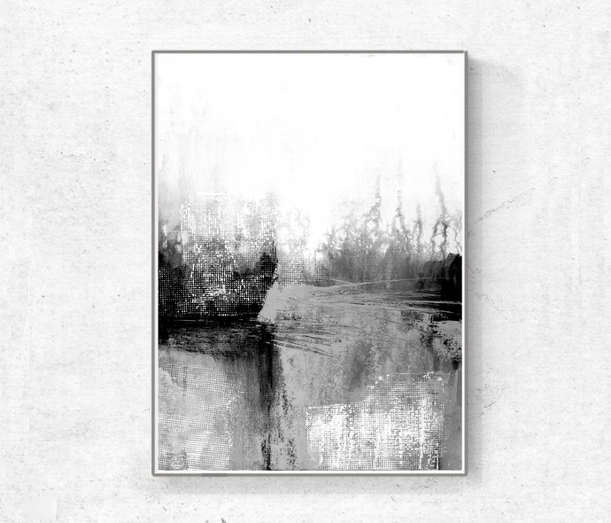 Original Painting Urban Grunge ,Art Minimalist Painting,Black and White