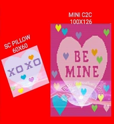 Valentines BE MINE Mini C2C Throw &  SC Pillow