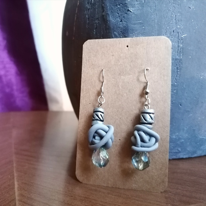 Grey Squiggle and Reclaimed Bead Earrings
