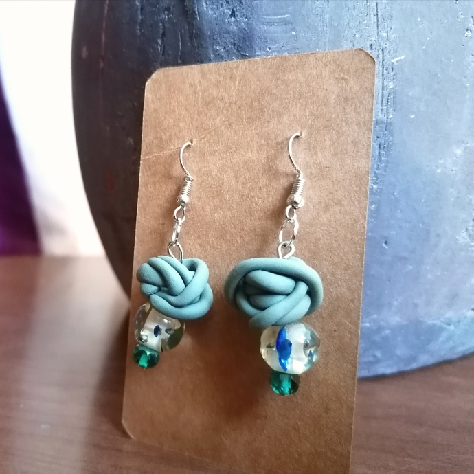 Pastel Green Squiggle and Reclaimed Bead Earrings