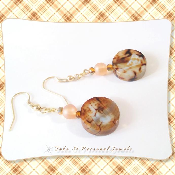 Fire Agate Semi Precious Gemstone Earrings Dainty Hypoallergenic Ear Wire