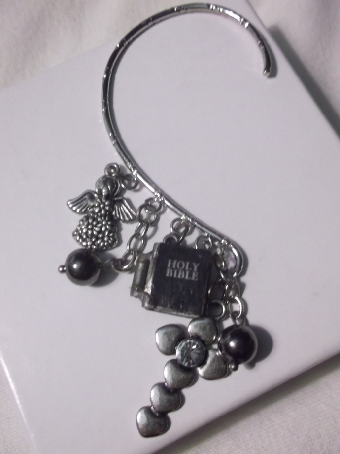 Religious ear wrap with cross, angel and Bible charms