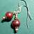 Red Pearls Earrings on Sterling Silver