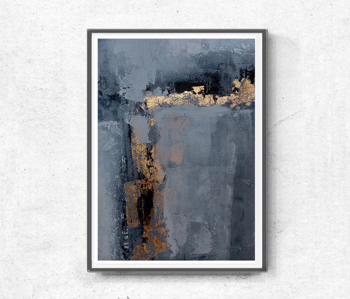 Printable Art, Art Poster gray and gold, Digital Download, Wall Decor gold and