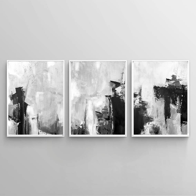 Black and White Prints, Minimalist Art, Large Art, Scandinavian Modern Art , set