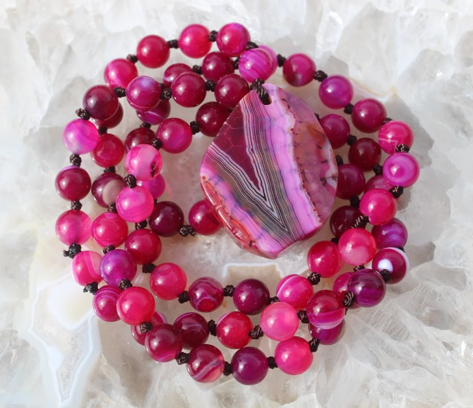 Stunning Long Beaded Necklace Boho Hot pink agate Statement jewelry by