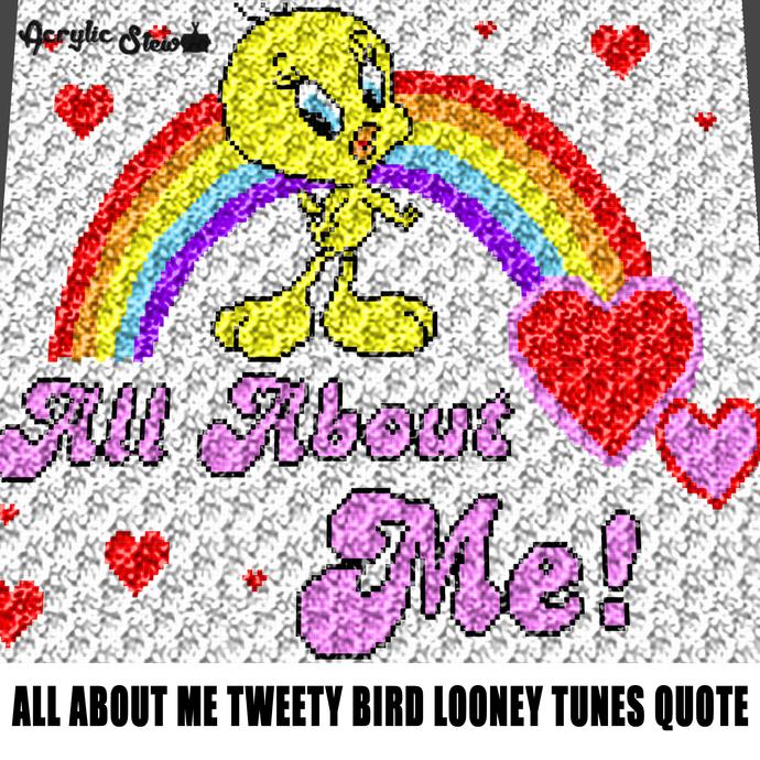 All About Me Tweety Bird Quote Typography Looney Tunescrochet graphgan blanket