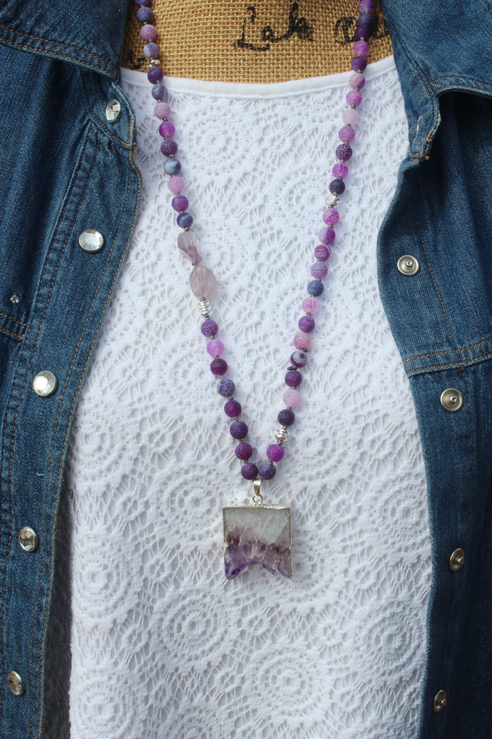 Stunning Purple Agate Hand Knot Long Beaded Necklace with Pendant Jewelry gifts