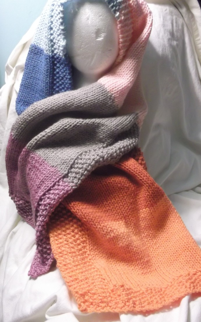 Hooded scarf multicolor purples, oranges, pink and blues