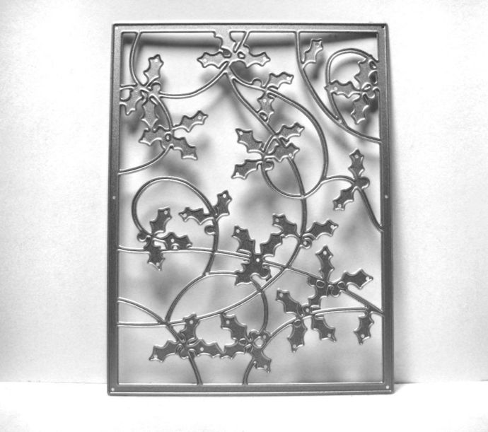 Holly Background Frame Metal Cutting Die Christmas Theme