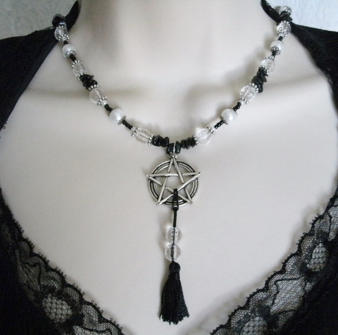Obsidian Pentacle Necklace, handmade jewelry pagan wiccan wicca witch witchcraft