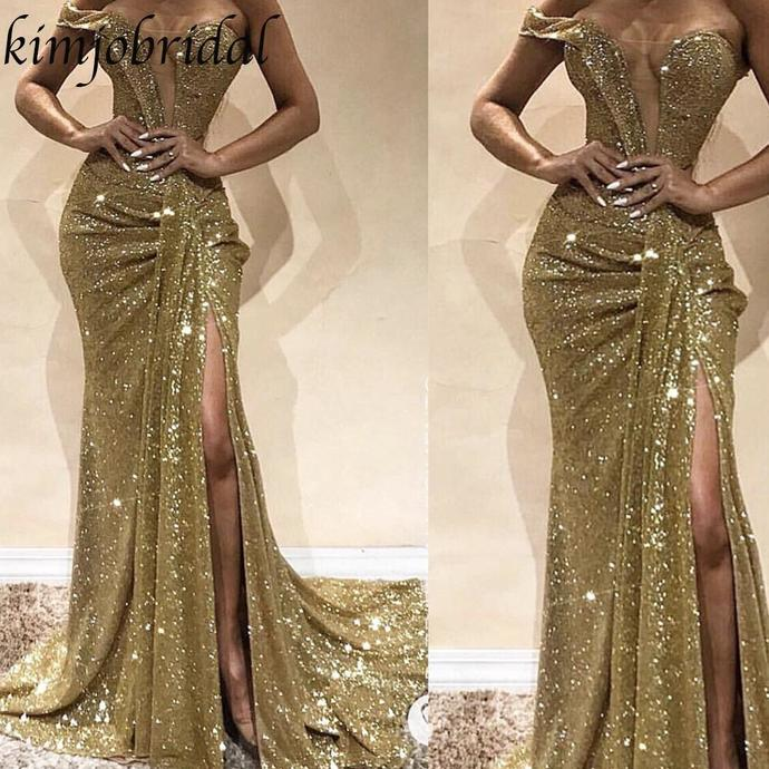 sparkly evening dresses long gold mermaid one shoulder pleated women sexy formal