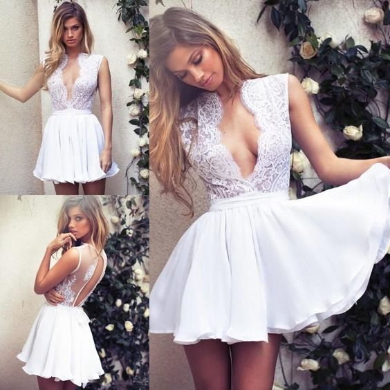 white prom dresses short lace applique cap sleeve deep v neck prom gown cheap