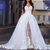 white lace applique wedding dresses for bride boho elegant detachable train