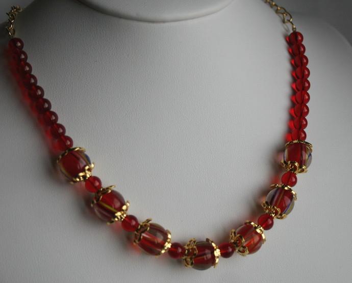 Fiery Red Lampwork Glass Beaded Necklace