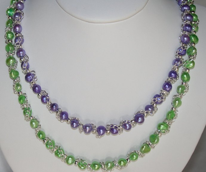 Freshwater Green and Purple Pearl Necklace, Multi-strand Jewelry