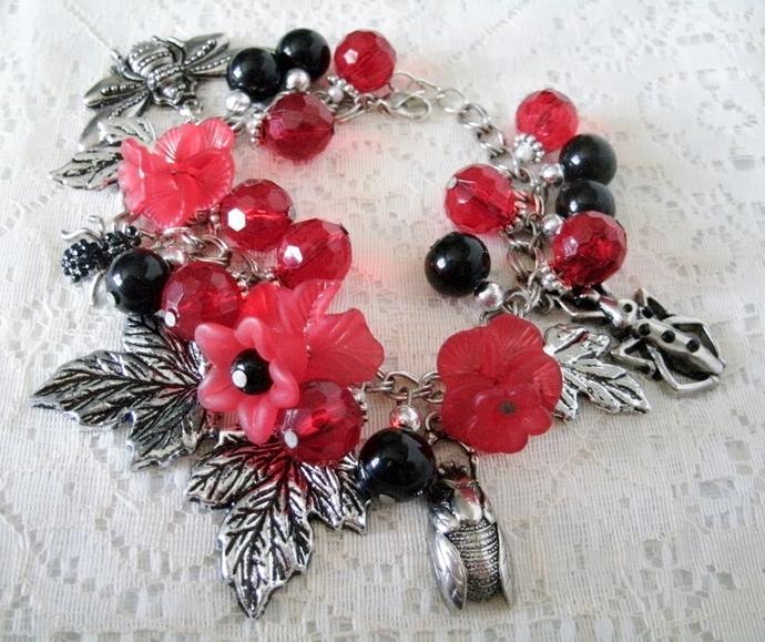 Victorian Bracelet, handmade jewelry steampunk gothic pin up art deco nature