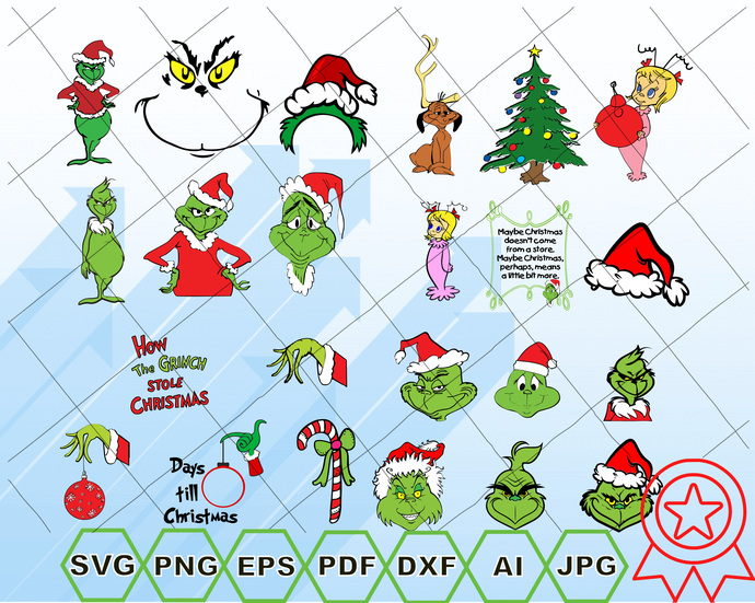Grinch Svg Cut Files Grinch Bundle Svg Grinch Shirt Grinch Hand Grinch Face