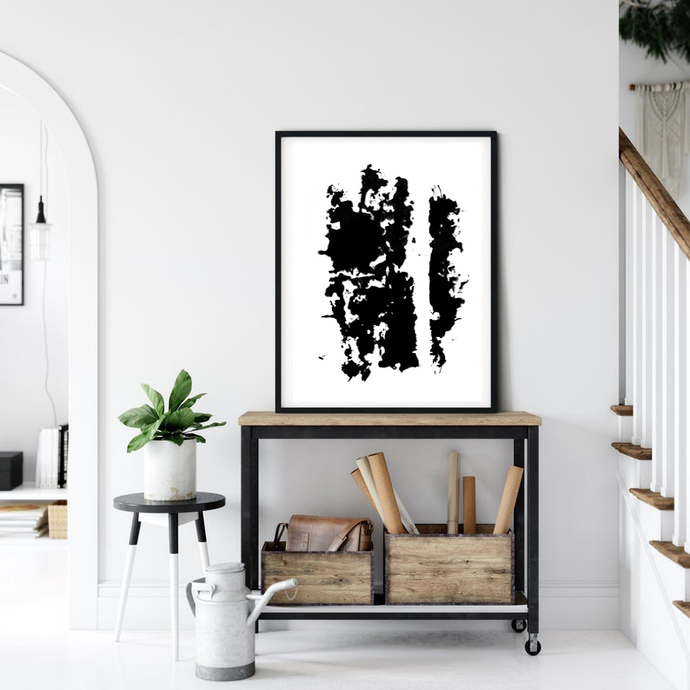 Black and White Minimalist Abstract Prints, Graphic Arts Instant
