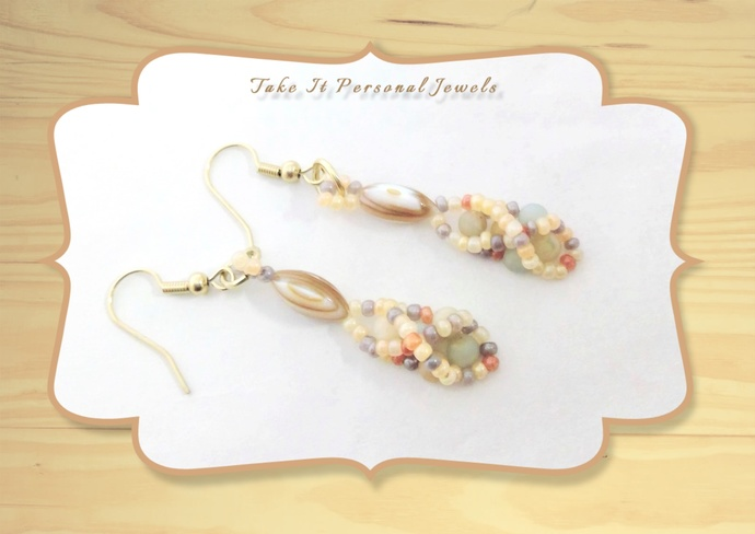 Natural Shell Beaded Earrings Handmade Spring Jewelry
