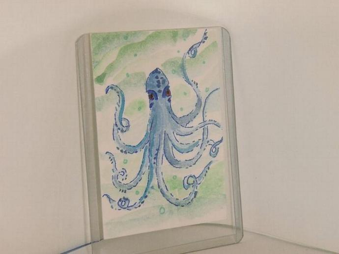 Blue Octopus original ACEO watercolor painting