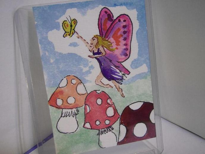 """Fairy in the Mushroom Patch"" original ACEO watercolor painting"