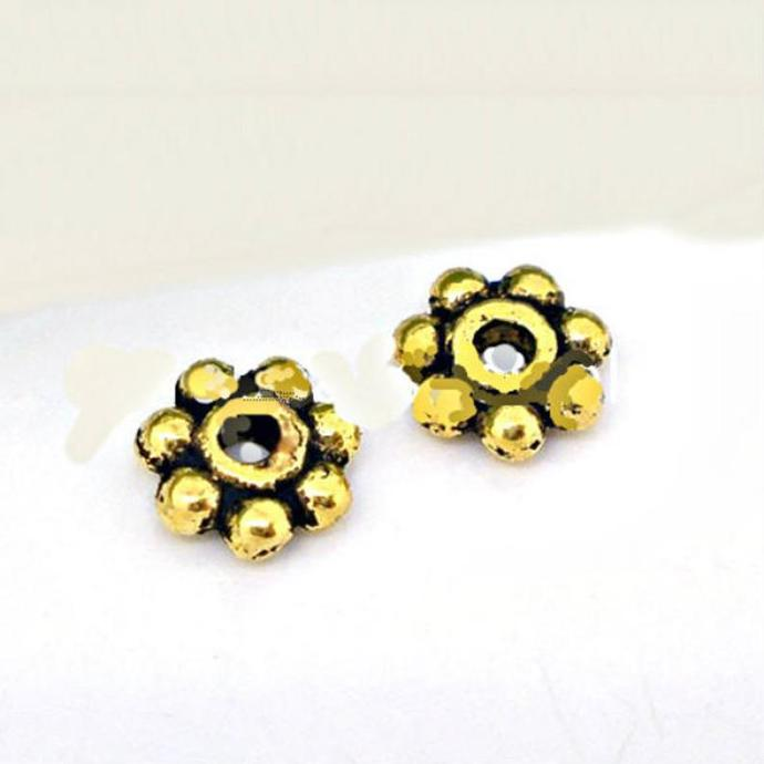 Tibetan small daisy spacer bead Gold Tone Bali style beads
