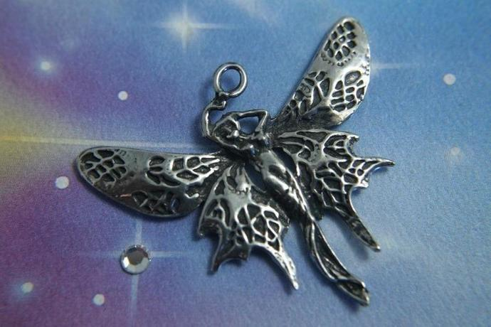 Large winged Fairy Pendant  Art Deco Butterfly Maiden Necklace Charm