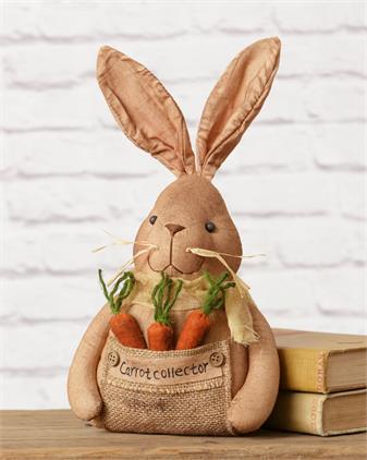 """Bunny Carrot Collector Cotton 13"""" x 7"""""""