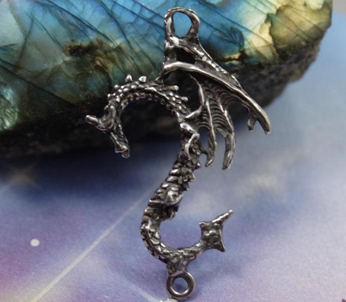 Dragon Pendant Renaissance Dragon Amulet necklace Gothic 2 ring connector