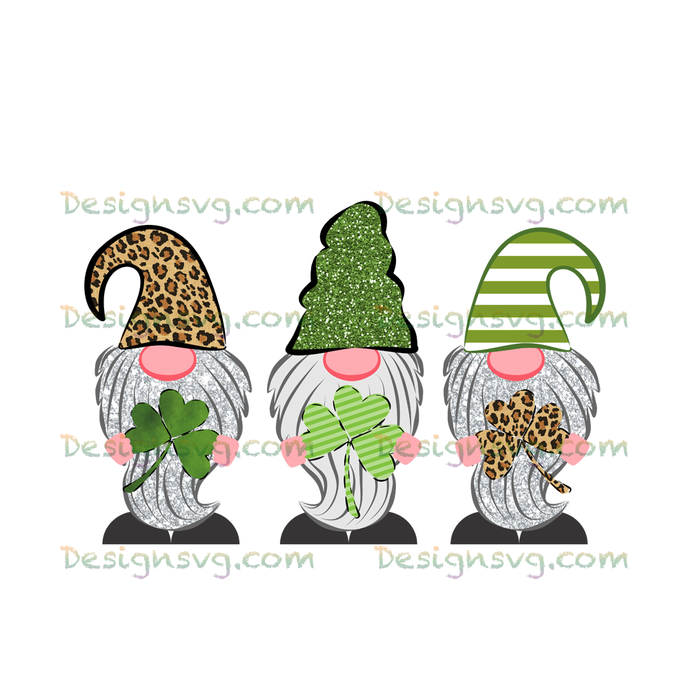 St Patricks Day, gnome clipart, lucky 3 gnome leopard png file for sublimation