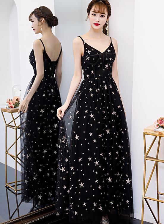 Sexy Black Straps Long V-neckline Party Dress, Black Prom Dress 2020