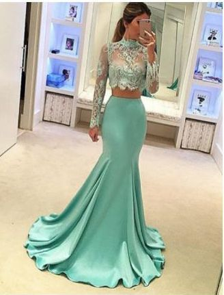mint green evening dresses long sleeve lace appliqué high neck 2 piece evening