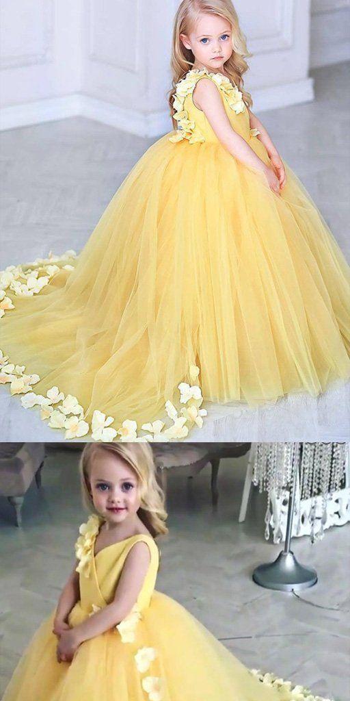 yellow flower girl dresses for weddings 3d flowers cheap cute kids prom ball