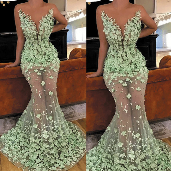 abendkleider mint green evening dresses long mermaid 3d flowers lace beaded