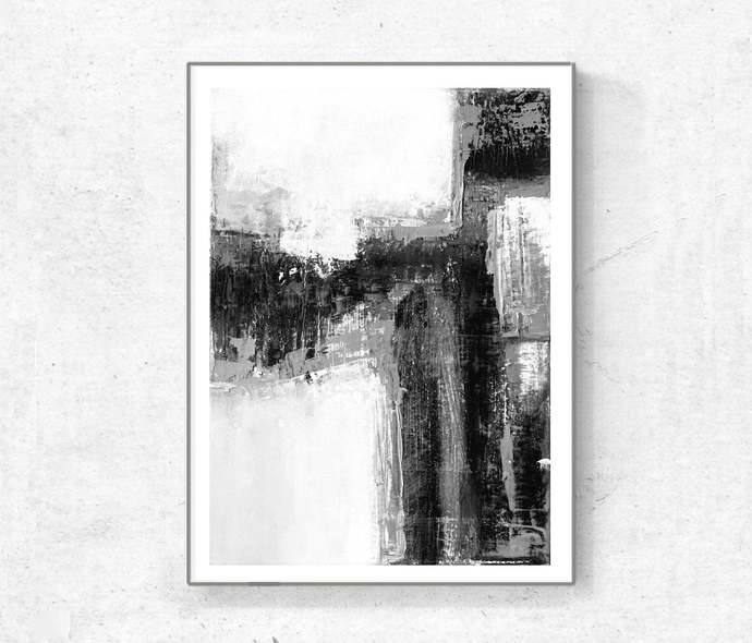 Black and White Abstract Art, Modern Art Prints, Set of Two Large Minimalist