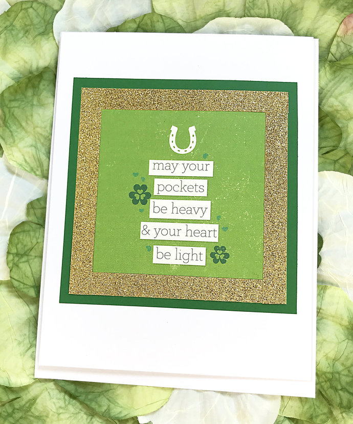 May Your Pockets be Heavy and Your Heart Be Light Greeting, Note Card, Green,