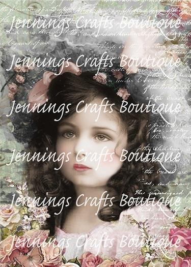 Vintage Girl in Flowers on Printed Canvas