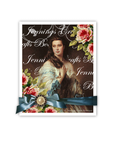 Vintage Lady on Printed Canvas