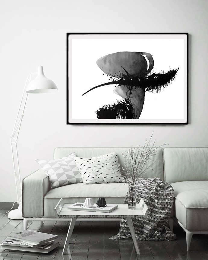 Abstract Art Print black white, Black Ink Abstract, digital downloads, Printable
