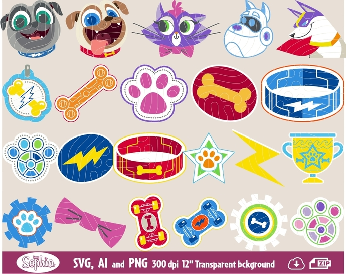 Puppy Dog Pals 26 cliparts, Svg File for Cricut plus Ai and Png file to edit or