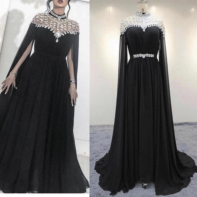 Dubai cape black beaded prom dresses long chiffon crystals muslim kaftan cheap