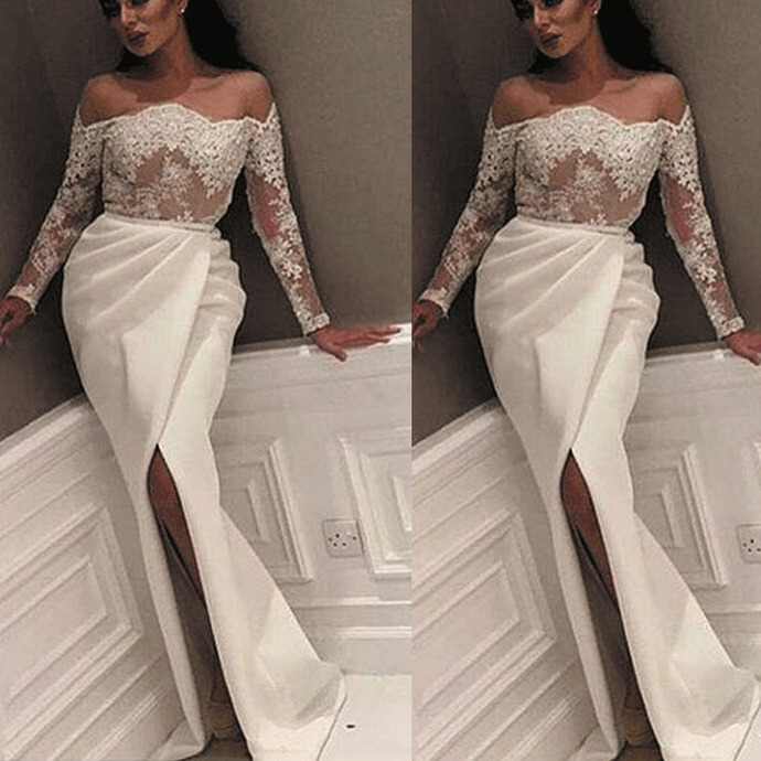 lace appliqué evening dresses long sleeve mermaid elegant beaded white evening