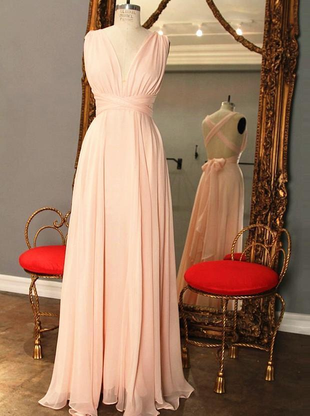 pink bridesmaid dresses long chiffon a line backless cheap wedding party dresses