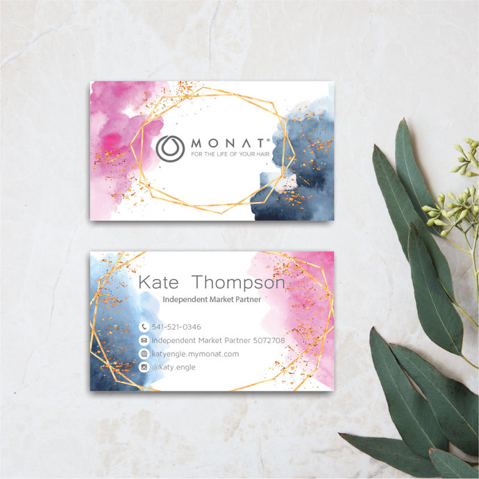 SALE Share :     Pink Navy Monat Business Cards, Personalized Monat Hair Care